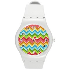 Colorful Background Of Chevrons Zigzag Pattern Round Plastic Sport Watch (m) by Amaryn4rt