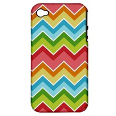 Colorful Background Of Chevrons Zigzag Pattern Apple Iphone 4/4s Hardshell Case (pc+silicone) by Amaryn4rt