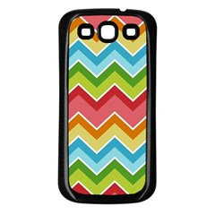 Colorful Background Of Chevrons Zigzag Pattern Samsung Galaxy S3 Back Case (black) by Amaryn4rt
