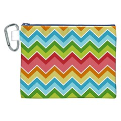 Colorful Background Of Chevrons Zigzag Pattern Canvas Cosmetic Bag (xxl) by Amaryn4rt