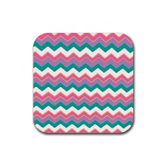 Chevron Pattern Colorful Art Rubber Square Coaster (4 Pack)  by Amaryn4rt