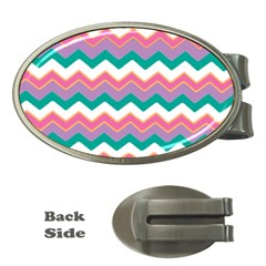 Chevron Pattern Colorful Art Money Clips (oval)  by Amaryn4rt