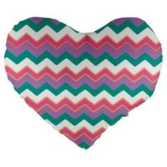 Chevron Pattern Colorful Art Large 19  Premium Heart Shape Cushions by Amaryn4rt