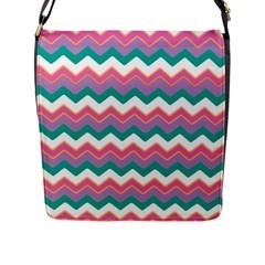 Chevron Pattern Colorful Art Flap Messenger Bag (l)  by Amaryn4rt