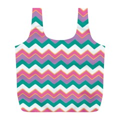 Chevron Pattern Colorful Art Full Print Recycle Bags (l)  by Amaryn4rt
