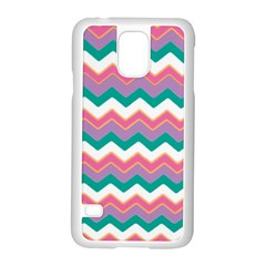Chevron Pattern Colorful Art Samsung Galaxy S5 Case (white) by Amaryn4rt