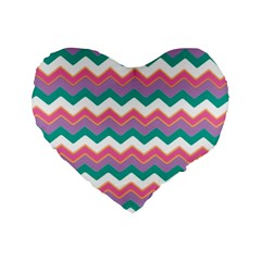 Chevron Pattern Colorful Art Standard 16  Premium Flano Heart Shape Cushions by Amaryn4rt
