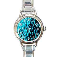 Bokeh Background In Blue Color Round Italian Charm Watch by Amaryn4rt