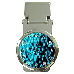 Bokeh Background In Blue Color Money Clip Watches by Amaryn4rt
