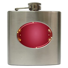 Red Background With A Pattern Hip Flask (6 Oz) by Amaryn4rt