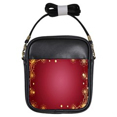 Red Background With A Pattern Girls Sling Bags