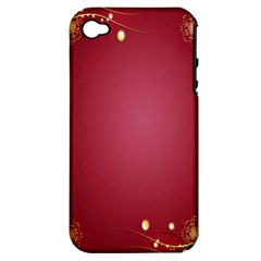 Red Background With A Pattern Apple Iphone 4/4s Hardshell Case (pc+silicone) by Amaryn4rt
