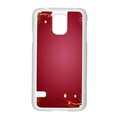Red Background With A Pattern Samsung Galaxy S5 Case (white) by Amaryn4rt