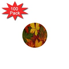 Colorful Autumn Leaves Leaf Background 1  Mini Buttons (100 Pack)  by Amaryn4rt