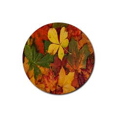 Colorful Autumn Leaves Leaf Background Rubber Round Coaster (4 Pack)  by Amaryn4rt