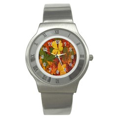 Colorful Autumn Leaves Leaf Background Stainless Steel Watch by Amaryn4rt