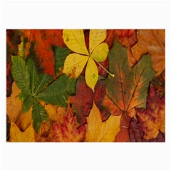 Colorful Autumn Leaves Leaf Background Large Glasses Cloth
