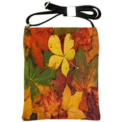 Colorful Autumn Leaves Leaf Background Shoulder Sling Bags by Amaryn4rt