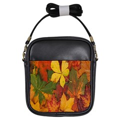 Colorful Autumn Leaves Leaf Background Girls Sling Bags by Amaryn4rt
