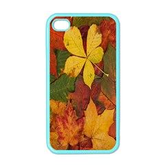 Colorful Autumn Leaves Leaf Background Apple Iphone 4 Case (color) by Amaryn4rt