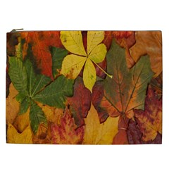 Colorful Autumn Leaves Leaf Background Cosmetic Bag (xxl)  by Amaryn4rt