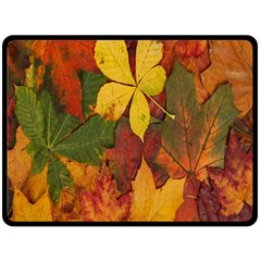 Colorful Autumn Leaves Leaf Background Double Sided Fleece Blanket (large)  by Amaryn4rt