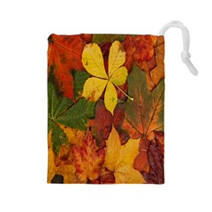 Colorful Autumn Leaves Leaf Background Drawstring Pouches (large)  by Amaryn4rt