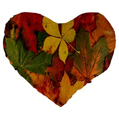 Colorful Autumn Leaves Leaf Background Large 19  Premium Flano Heart Shape Cushions by Amaryn4rt