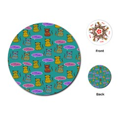Meow Cat Pattern Playing Cards (round)  by Amaryn4rt