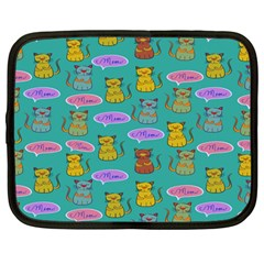 Meow Cat Pattern Netbook Case (large) by Amaryn4rt