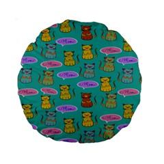 Meow Cat Pattern Standard 15  Premium Round Cushions by Amaryn4rt