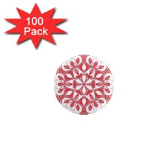 Red Pattern Filigree Snowflake On White 1  Mini Magnets (100 Pack)  by Amaryn4rt