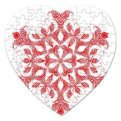 Red Pattern Filigree Snowflake On White Jigsaw Puzzle (heart) by Amaryn4rt