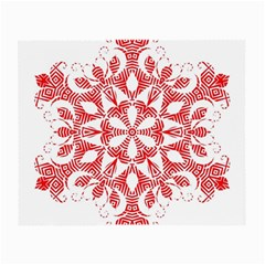 Red Pattern Filigree Snowflake On White Small Glasses Cloth by Amaryn4rt