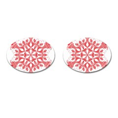 Red Pattern Filigree Snowflake On White Cufflinks (oval) by Amaryn4rt