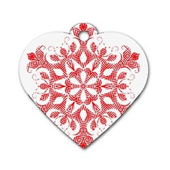 Red Pattern Filigree Snowflake On White Dog Tag Heart (one Side)