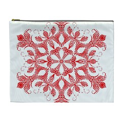 Red Pattern Filigree Snowflake On White Cosmetic Bag (xl) by Amaryn4rt