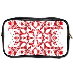 Red Pattern Filigree Snowflake On White Toiletries Bags by Amaryn4rt