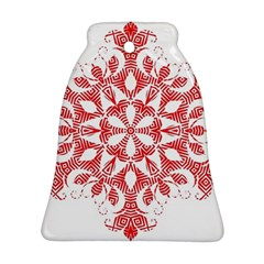 Red Pattern Filigree Snowflake On White Bell Ornament (two Sides) by Amaryn4rt