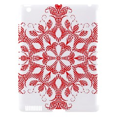 Red Pattern Filigree Snowflake On White Apple Ipad 3/4 Hardshell Case (compatible With Smart Cover) by Amaryn4rt