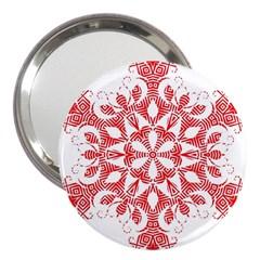 Red Pattern Filigree Snowflake On White 3  Handbag Mirrors