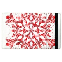 Red Pattern Filigree Snowflake On White Apple Ipad 3/4 Flip Case by Amaryn4rt