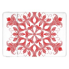 Red Pattern Filigree Snowflake On White Samsung Galaxy Tab 8 9  P7300 Flip Case by Amaryn4rt