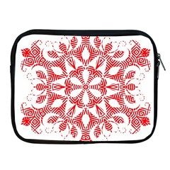 Red Pattern Filigree Snowflake On White Apple Ipad 2/3/4 Zipper Cases by Amaryn4rt