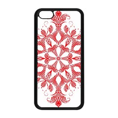 Red Pattern Filigree Snowflake On White Apple Iphone 5c Seamless Case (black) by Amaryn4rt