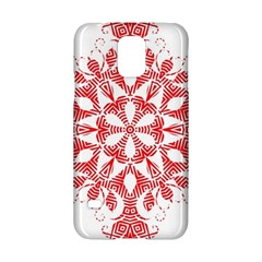 Red Pattern Filigree Snowflake On White Samsung Galaxy S5 Hardshell Case  by Amaryn4rt