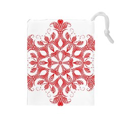 Red Pattern Filigree Snowflake On White Drawstring Pouches (large)  by Amaryn4rt
