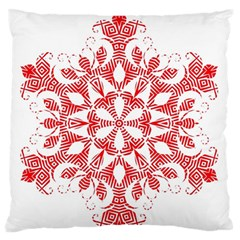 Red Pattern Filigree Snowflake On White Large Flano Cushion Case (one Side) by Amaryn4rt