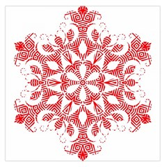 Red Pattern Filigree Snowflake On White Large Satin Scarf (square) by Amaryn4rt
