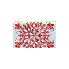 Red Pattern Filigree Snowflake On White Cosmetic Bag (xs) by Amaryn4rt